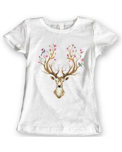 Hert Bloemen En Vogels Horns T-Shirts